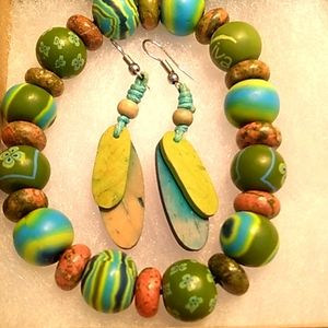 Multi Color Beaded Bracelet and Earing Set